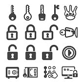 key,lock icon set,vector illustration
