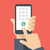 Keypad on smartphone screen. Mobile phone call. Hand holds smartphone, finger touches screen. Modern concept for web banners, web sites, infographics. Creative flat design vector illustration