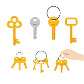 Keys vector set isolated on white background, flat cartoon style icon modern and classic retro door keys bunch hanging on ring, hand holding keychain