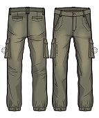 Khaki cargo pants with large side pockets