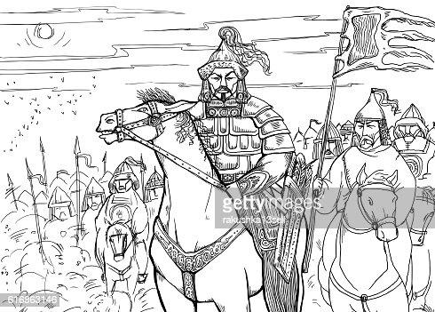Khan Mongolian nomad on horseback and his horde : Vector Art
