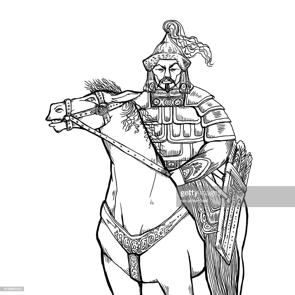 Khan Mongolian nomad on horseback : Vector Art