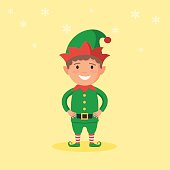 Cute kid in a Christmas Elf costume and snowflake on background. New year carnival person. Vector illustration in cartoon style web design template holidays for banner, poster or greeting card
