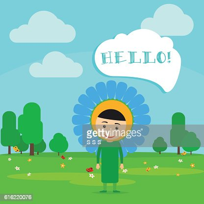 Kid in blue flower dress : Vector Art
