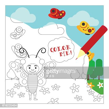 Kid in buttefly dress coloring page : Vectorkunst