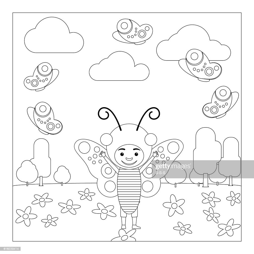Kid in butterfly dress coloring page : Vector Art