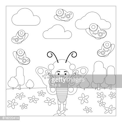 Kid in butterfly dress coloring page : Vectorkunst