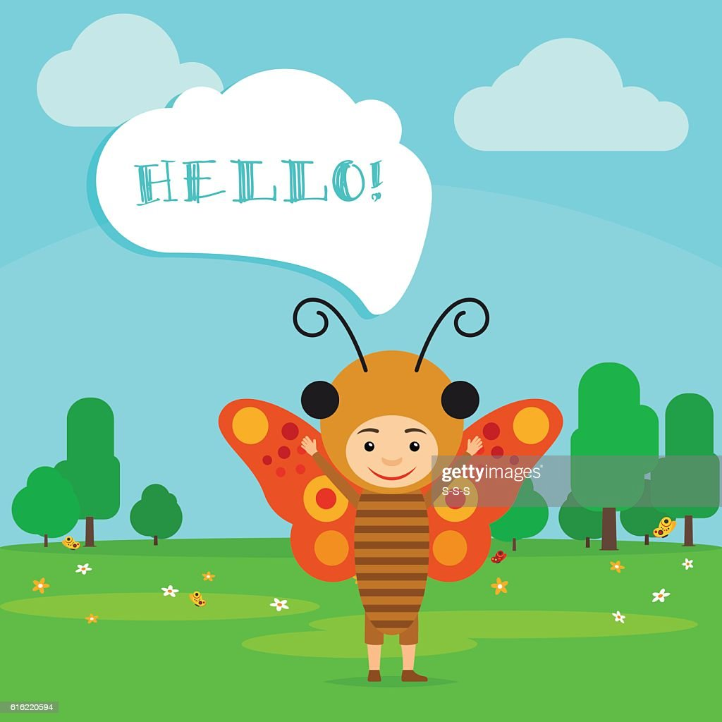 Kid in butterfly insect dress : Vector Art
