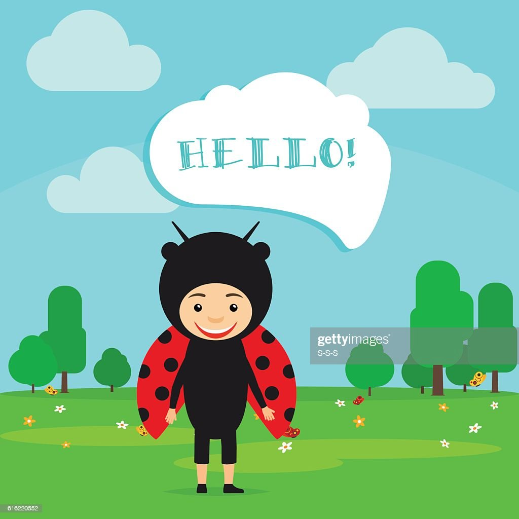Kid in fancy ladybug dress : Clipart vectoriel