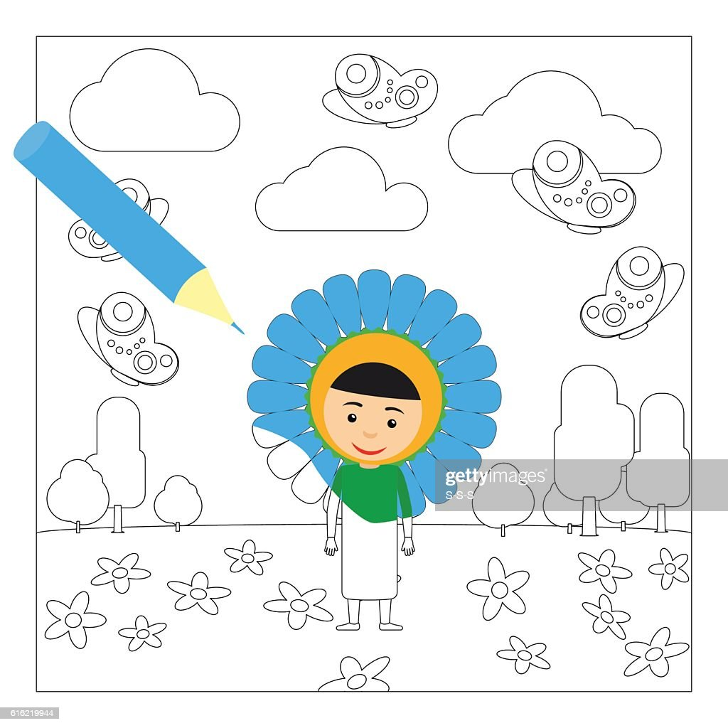Kid in flower dress coloring page : Vectorkunst