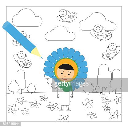 Kid in flower dress coloring page : Vector Art
