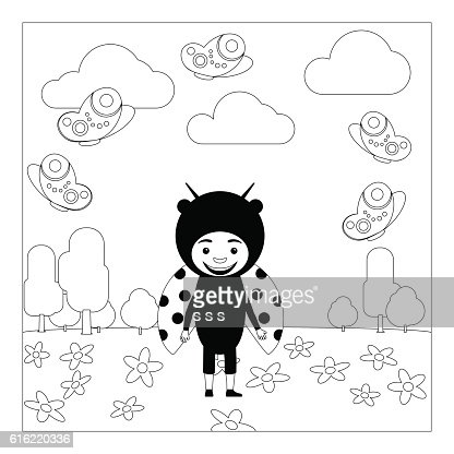 Kid in ladybug dress coloring page : Vectorkunst