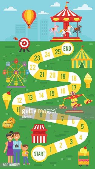 Kinder Freizeitpark Brettspiel Vorlage Für Den Druck Vektorgrafik
