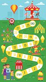 Vector flat style illustration of kids amusement park board game template. For print.
