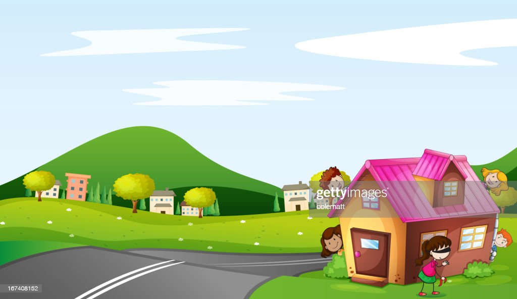 Kids and a house : Vector Art