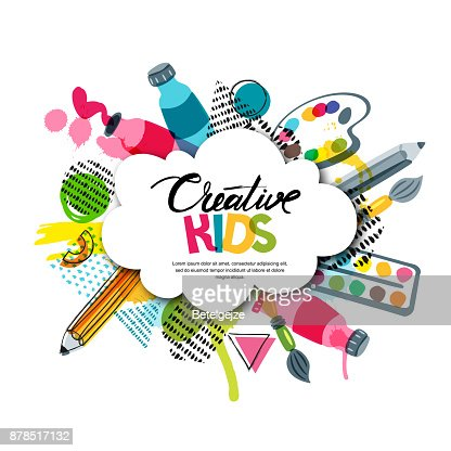Kids art craft, education, creativity class. Vector banner, poster with white cloud shape paper background. : Arte vetorial