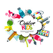 Kids art craft, education, creativity class concept. Vector banner, poster with white cloud shape paper background, hand drawn letters, pencil, brush, watercolor paints. Doodle illustration.