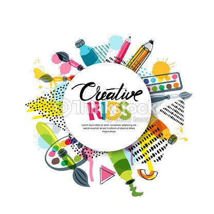 Kids Art Craft Education Creativity Class Vector Banner Poster With