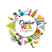 Kids art craft, education, creativity class concept. Vector banner, poster with white paper background, hand drawn letters, pencil, brush, paints and watercolor splash. Doodle illustration.