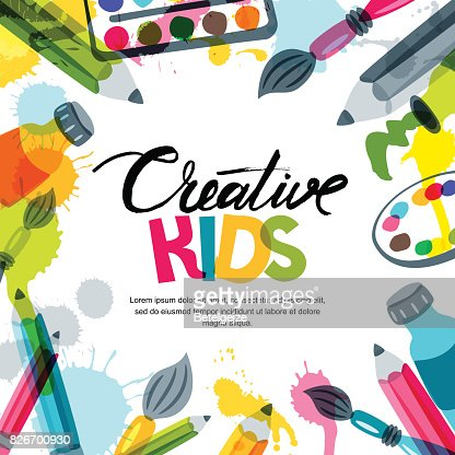 Kids art, education, creativity class concept. Vector banner, poster background with calligraphy, pencil, brush, paints. : Arte vetorial