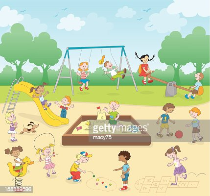Kids at the playground : Vector Art