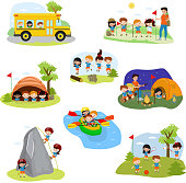 Kids camp vector children camper characters and camping activity on summer vacation illustration set of child playing in tent near campfire in campsite isolated on white background.