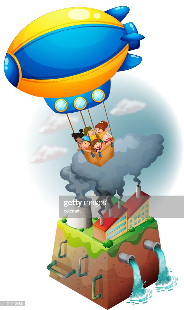 Kids carried by an airship : Vector Art