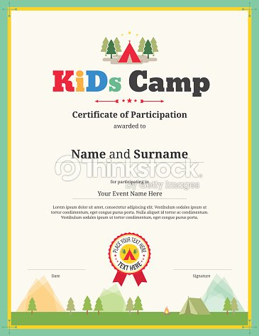 Kids certificate template in vector for camping participation kids certificate template in vector for camping participation vector art yadclub Choice Image