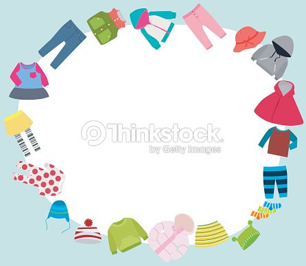 Kids Clothes And Frame Vector Art | Thinkstock