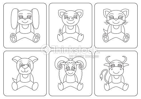 Libro Para Colorear A Los Niños Animales Conejo Cerdo Gato Perro ...