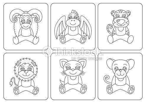 Libro Para Colorear A Los Niños Animales Rata Dragon Tigre Gato ...