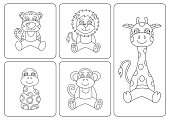 Kids coloring book. Animals: tiger; snake; monkey; giraffe, leo or lion