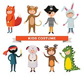 Kids different costumes isolated vector illustration. Dragon, crocodile, sheep and deer. Snowman, bear, ninja, rabbit and fox, pirate.Kids costume vector isolated. Children party costume. Kids costume