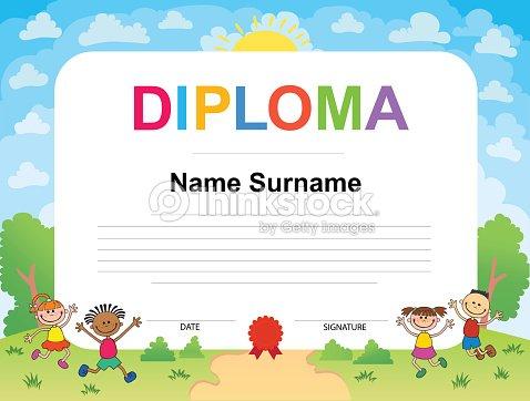 kids diploma certificate background design template vector art