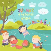 Kids eating watermelon. Summer picnic by the river bank. Vector illustration