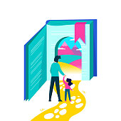 Girl entering book door with dad for kids education concept, children imagination world illustration on isolated background. EPS10 vector.