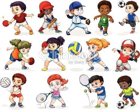 Niños Atractivas En Diferentes Actividades Deportivas Arte vectorial ...