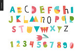 Kids flat alphabet set - Fun latin font - letters and digits