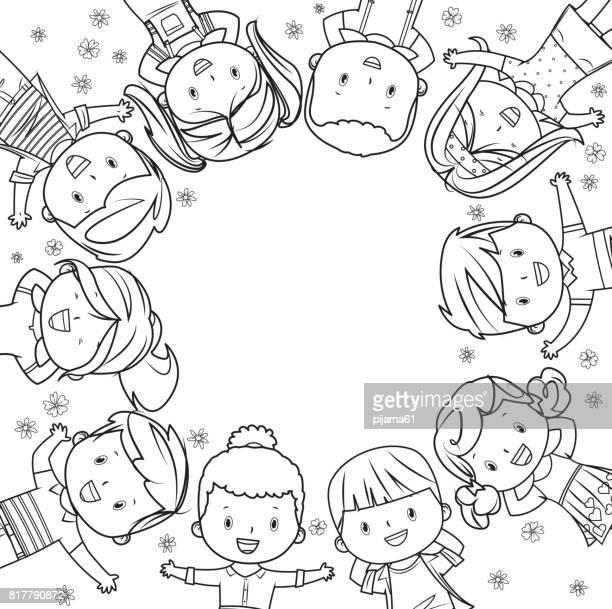 Kinder Rahmen Strichzeichnungen