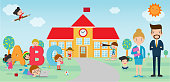 Kids go to school, back to school template with kids, teacher and students, kids and playground on background Vector Illustration.
