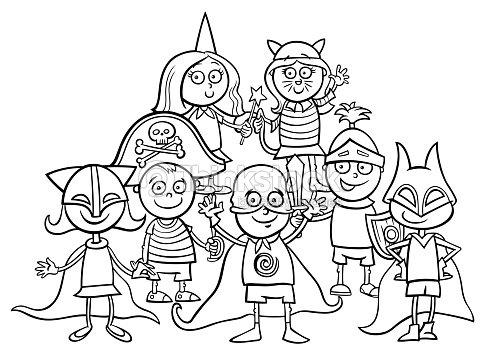 Grupo De Niños En Baile De Máscara Para Colorear Libro Arte ...