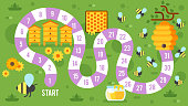 Vector flat style illustration of kids honey and beekeeping board game template. For print.