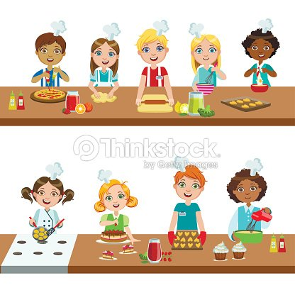 enfants dans les cours de cuisine clipart vectoriel thinkstock. Black Bedroom Furniture Sets. Home Design Ideas