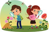Two kids in nature examining insects and plants. [url=http://www.istockphoto.com/file_search.php?action=file&lightboxID=9376009][img]http://www.armation.com/istock/ca.jpg[/img] [/url] [url=http://www.