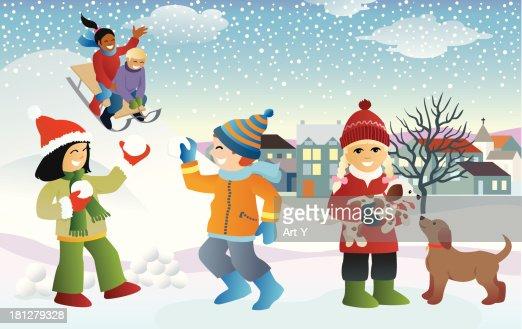 Kids in the snow : Vector Art
