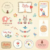 Kids labels and colorful promo signs. symbol collections for children. Hand drawn frames, flowers, bird, baby boy, cartoon elephant, cute rabbit, butterfly, bee, Teddy Bear, toys and typographic desig