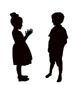Kids making chat, silhouette vector