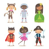 Kids of different nation in costumes for party or holiday. Pirate, fairy, superhero, princess, astronaut and kitten costume. Cartoon vector illustration of boys and girls in different costume