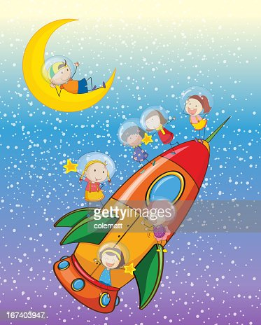 Kids on a rocket : Vector Art