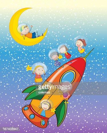 Enfants sur une fusée : Clipart vectoriel